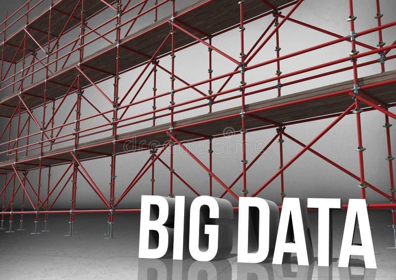 dados grandes da palavra 3D na frente do andaime na sala cinzenta ilustração do vetor