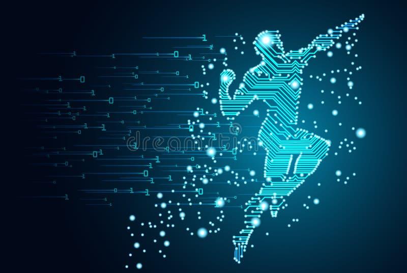 Dados grandes e conceito da inteligência artificial ilustração stock
