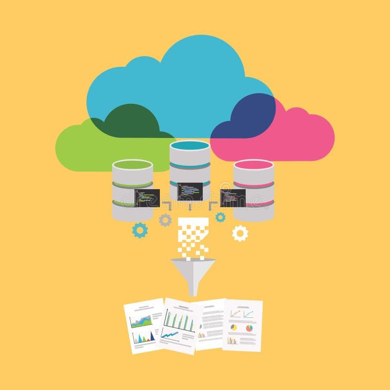 Dados grandes E Conceito da mineração de dados ilustração stock