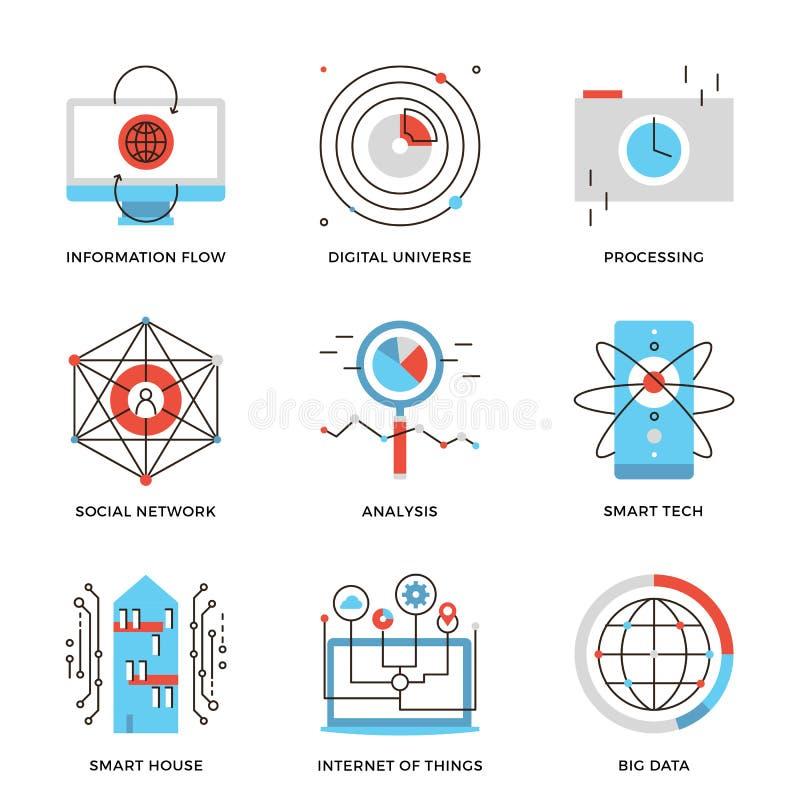 Dados grandes e linha esperta ícones da tecnologia ajustados ilustração do vetor