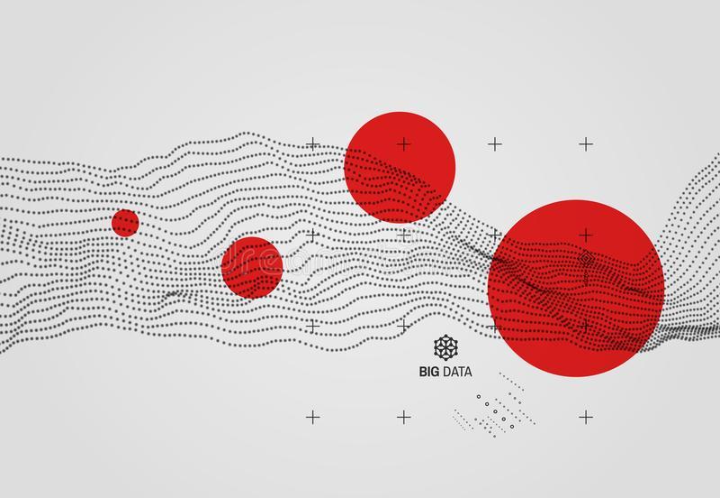 Dados grandes Fundo ondulado com efeito do movimento estilo da tecnologia 3D ilustração do vetor