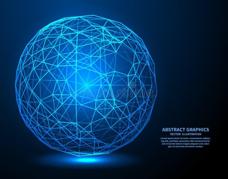 Dados grandes, ilustração do vetor Conexões de rede com os pontos e as linhas Fundo abstrato da tecnologia ilustração do vetor
