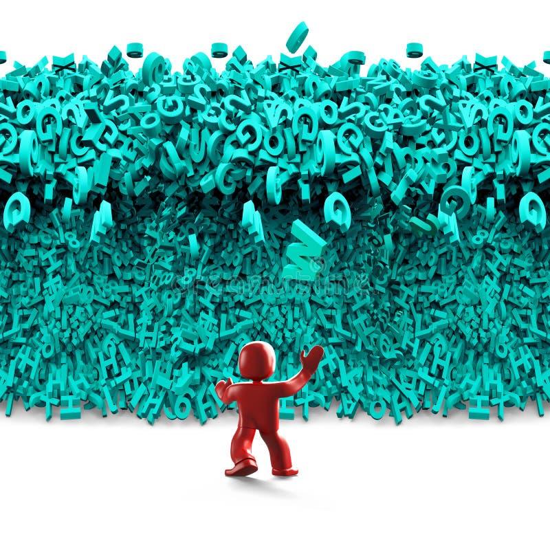 Dados grandes Onda enorme do tsunami dos caráteres homem 3d ilustração 3D ilustração do vetor