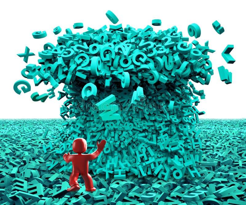 Dados grandes Onda enorme do tsunami dos car?teres homem 3d ilustra??o 3D imagem de stock royalty free