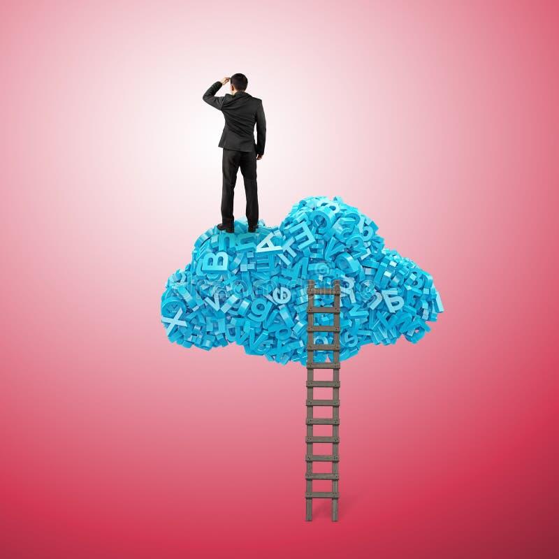 Dados grandes Posição do homem de negócios na nuvem azul dos caráteres 3d fotografia de stock royalty free