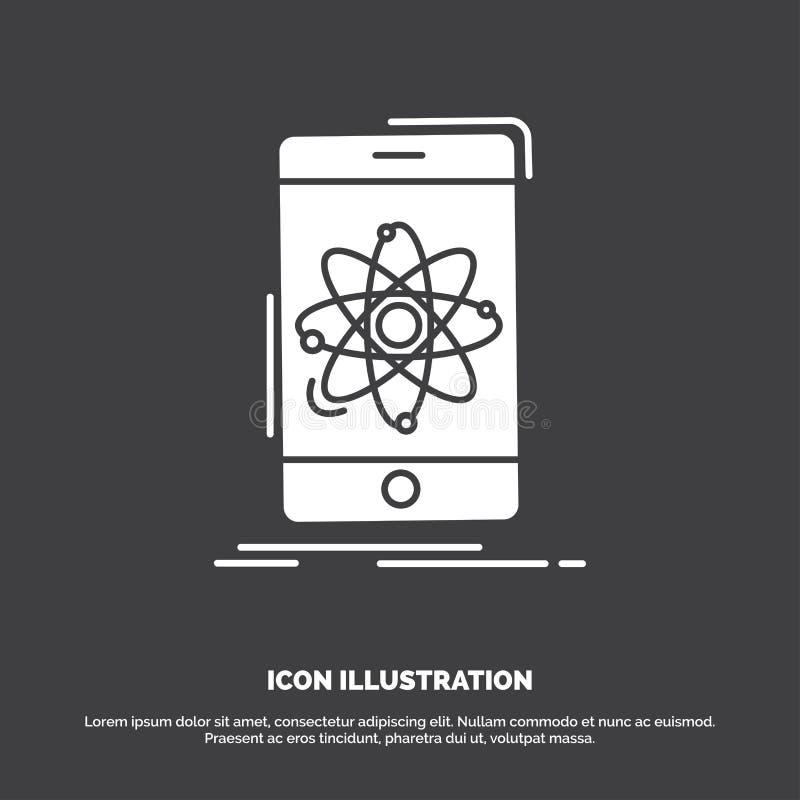 dados, informação, móbil, pesquisa, ícone da ciência s?mbolo do vetor do glyph para UI e UX, Web site ou aplica??o m?vel ilustração do vetor