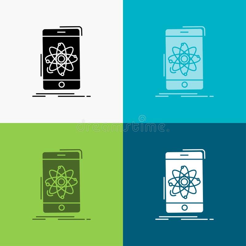 dados, informação, móbil, pesquisa, ícone da ciência sobre o vário fundo projeto do estilo do glyph, projetado para a Web e o app ilustração royalty free