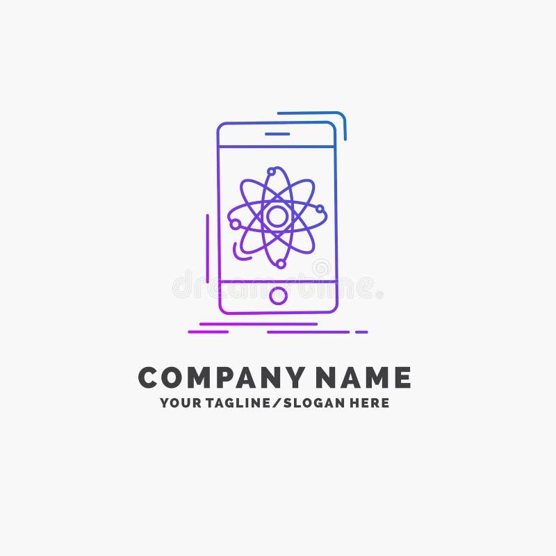 dados, informação, móbil, pesquisa, negócio roxo Logo Template da ciência Lugar para o Tagline ilustração stock