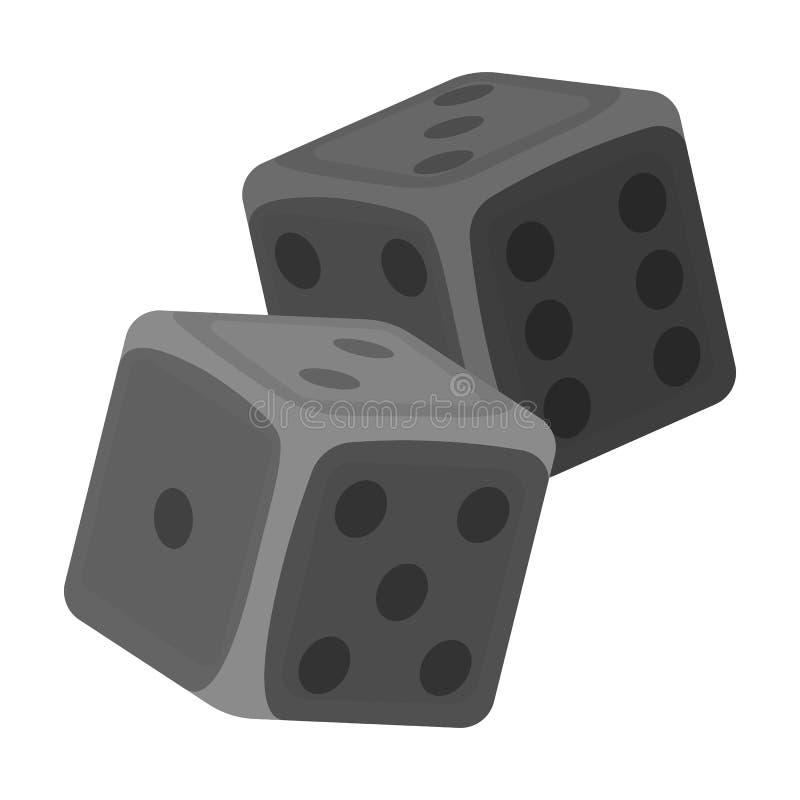 Dados para los juegos en el casino Piedras a lanzar en la tabla para la buena suerte Solo icono de Kasino en vector monocromático stock de ilustración