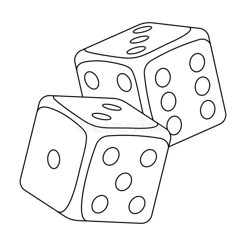 Dados para los juegos en el casino Piedras a lanzar en la tabla para la buena suerte solo icono en vector del estilo del esquema ilustración del vector