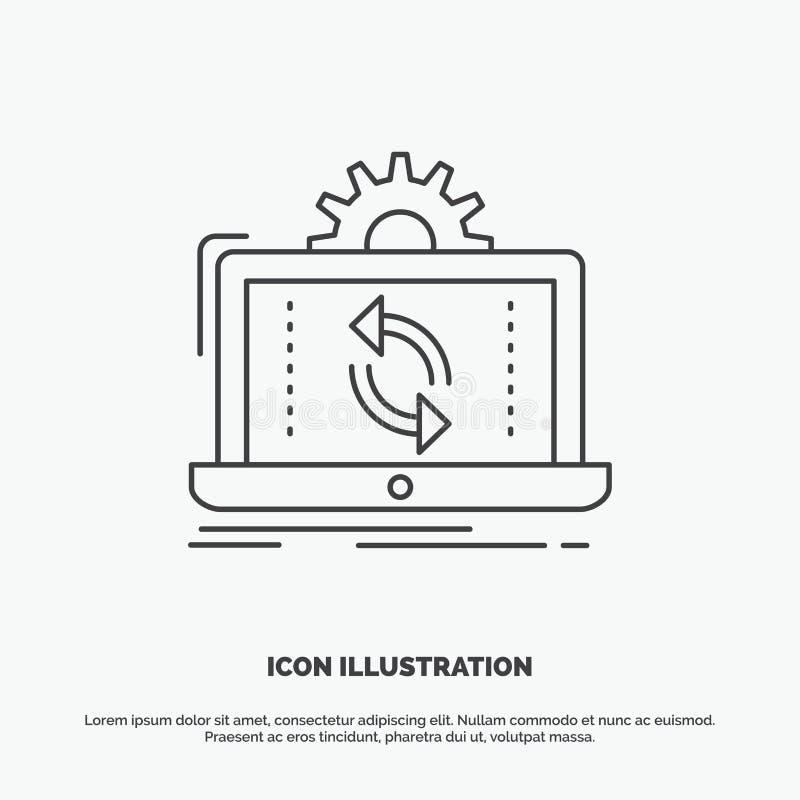 dados, processando, análise, relatório, ícone da sincronização Linha s?mbolo cinzento do vetor para UI e UX, Web site ou aplica?? ilustração do vetor