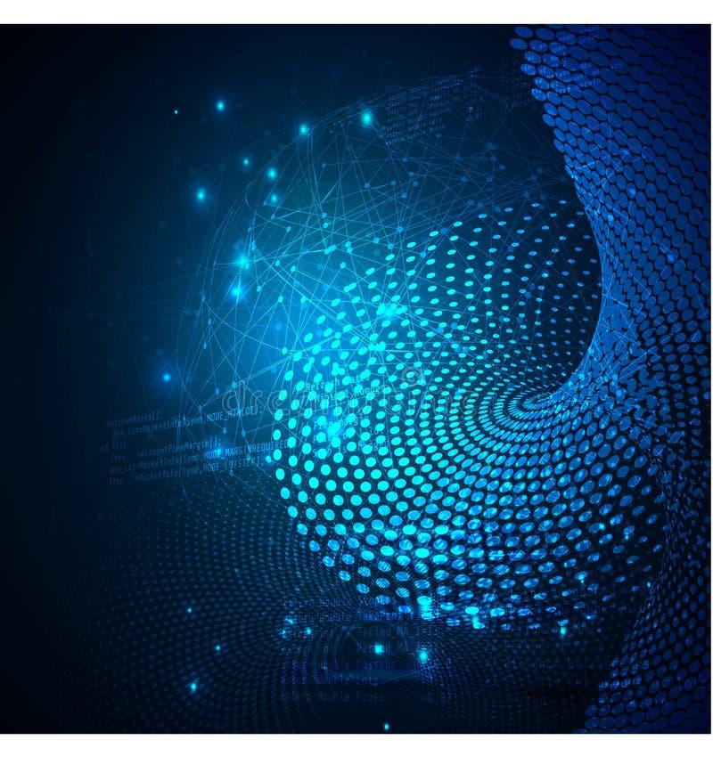 Dados que classificam o processo de fluxo Infographic futurista grande do córrego de dados Onda colorida da partícula com bokeh foto de stock royalty free
