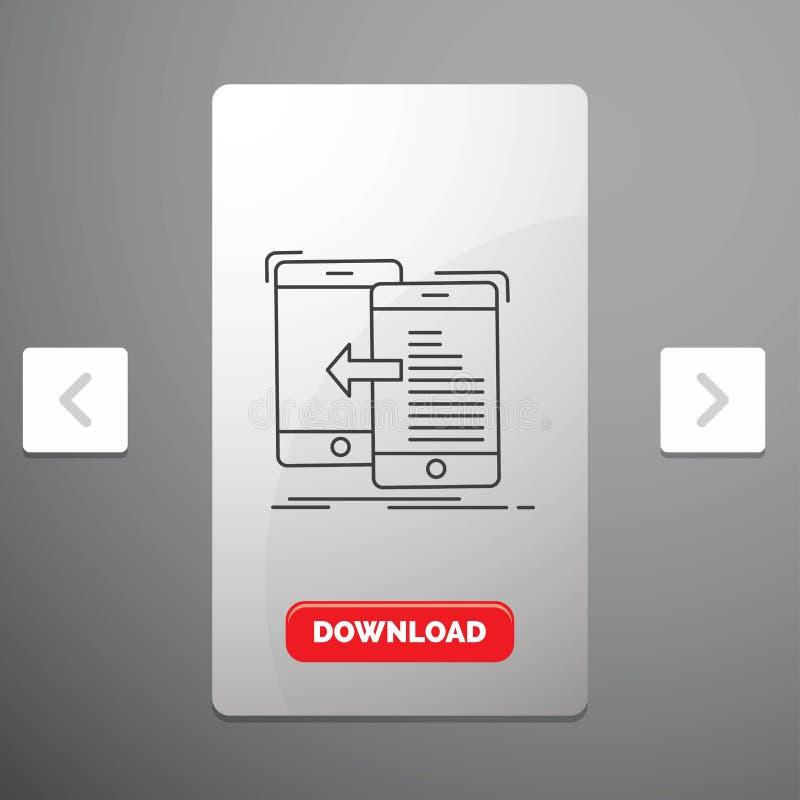 dados, transferência, móbil, gestão, linha ícone do movimento no projeto do slider das paginações do Carousal & botão vermelho da ilustração do vetor