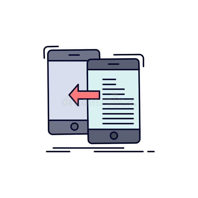 dados, transferência, móbil, gestão, vetor liso do ícone da cor do movimento ilustração stock