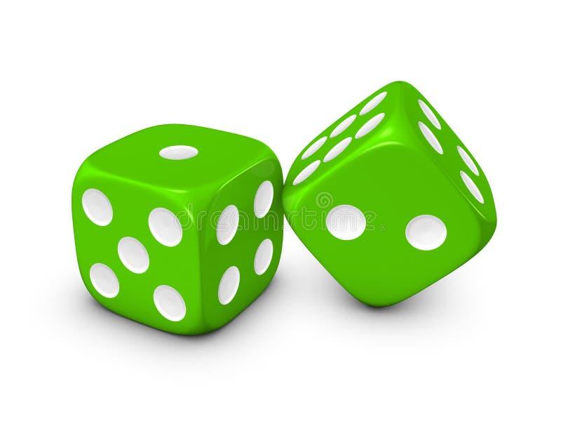 Dados verdes en el fondo blanco stock de ilustración