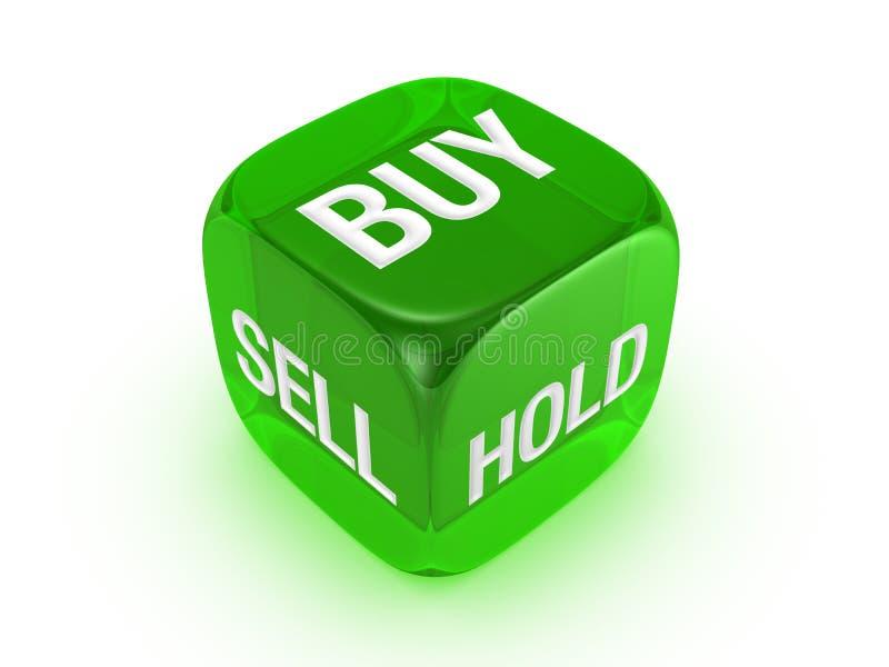 Dados verdes translúcidos com compra, sell, sinal da preensão fotos de stock royalty free