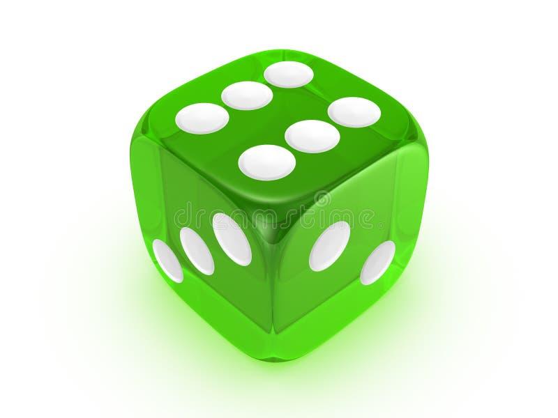 Dados verdes translúcidos en el fondo blanco stock de ilustración