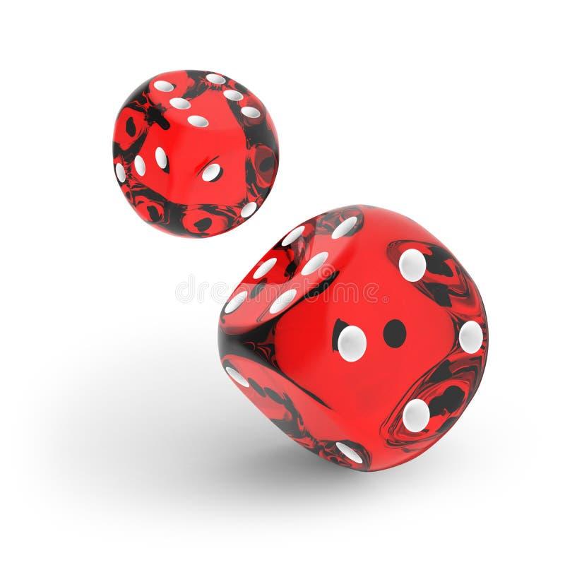 Dados vermelhos do casino jogados para a câmera ilustração stock