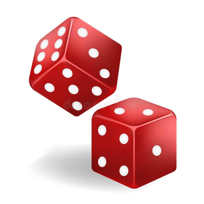 Dados vermelhos do jogo em voo Casino que joga Vetor ilustração royalty free