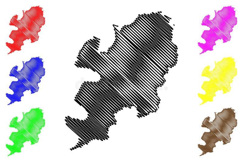 Daegu översiktsvektor royaltyfri illustrationer