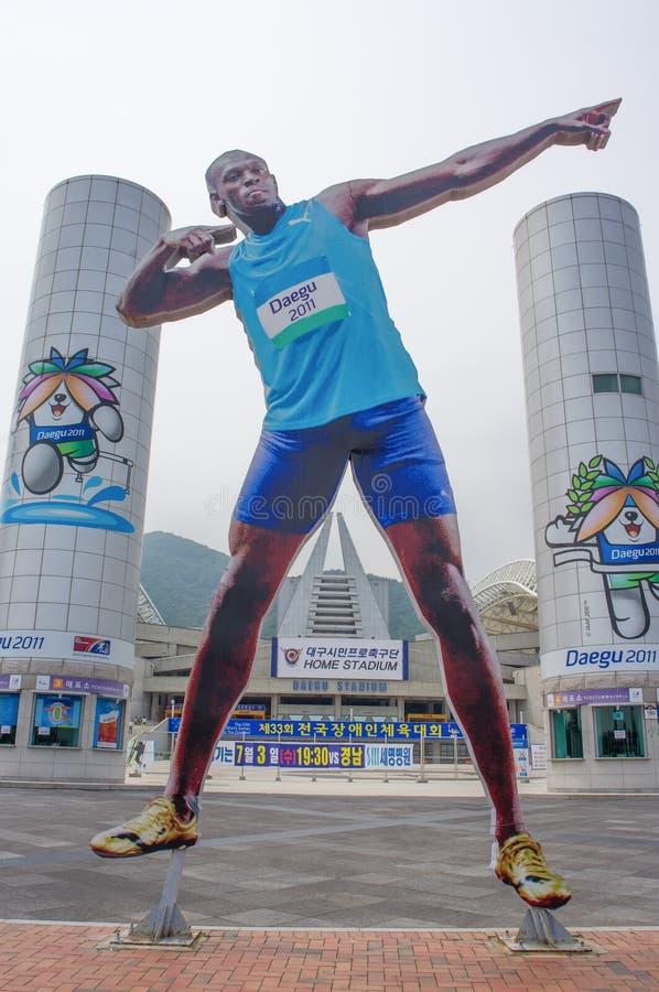 DAEGU/SYDKOREA - JUNI 26, 2013: Daegu stadion - var värd de FIFA världscup- och världsmästerskapen i friidrott royaltyfri fotografi