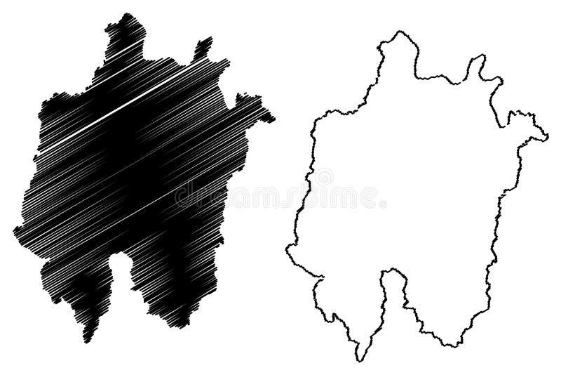 Daejeon översiktsvektor vektor illustrationer