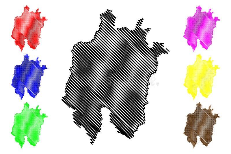 Daejeon översiktsvektor royaltyfri illustrationer