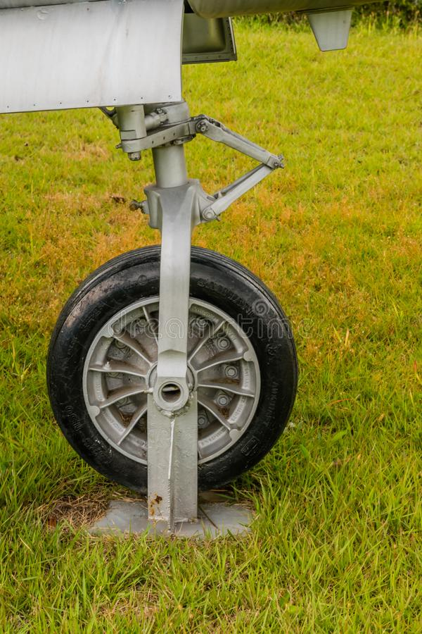 Lockheed T-33 nose gear. Daejeon, South Korea; October 3, 2019: Front landing gear and door assembly of Lockheed T-33 jet trainer on displayat National Cemetery royalty free stock photography