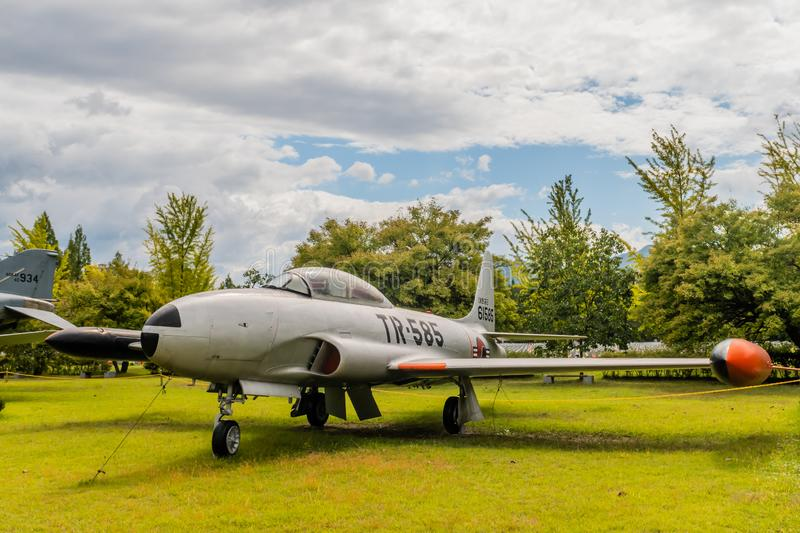 Lockheed T-33 jet trainer. Daejeon, South Korea; October 3, 2019: View of front port side of Lockheed T-33 jet trainer on display at National Cemetery stock image