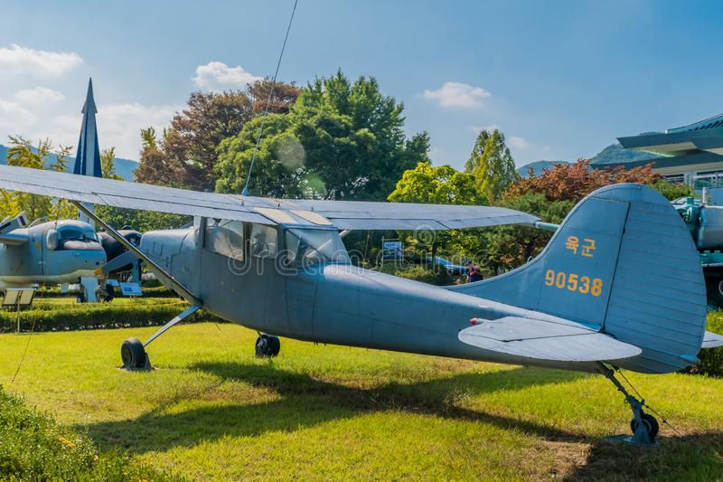 Cessna 140 aircraft. Daejeon, South Korea; September 29, 2019: Cessna 140 tail dragger aircraft used for military pilot training on display at National cemetery royalty free stock photo