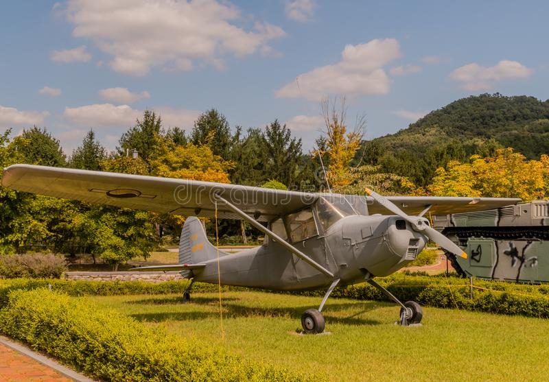 Cessna 140 tail dragger. Daejeon, South Korea; September 19, 2019: Cessna 140 tail dragger aircraft used for training on display at National cemetery royalty free stock image