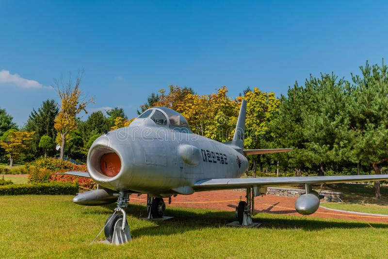 F-86F Sabre jet aircraft. Daejeon, South Korea; September 29, 2019: North American Aviation F-86F Sabre jet aircraft on display in public park at National stock photography