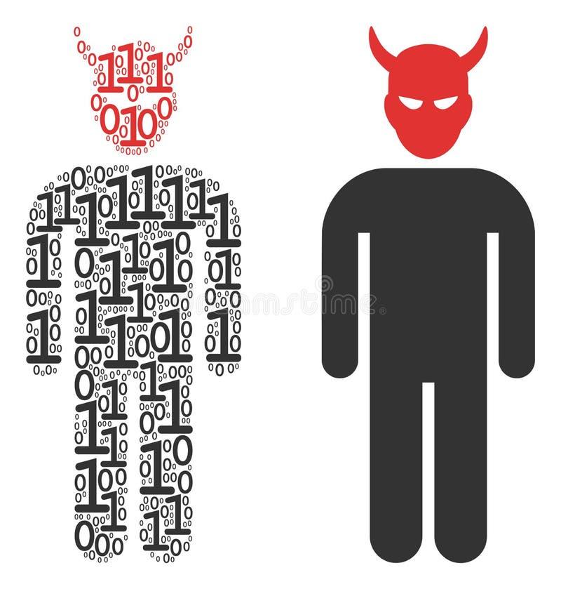 Daemon Collage delle cifre binarie royalty illustrazione gratis