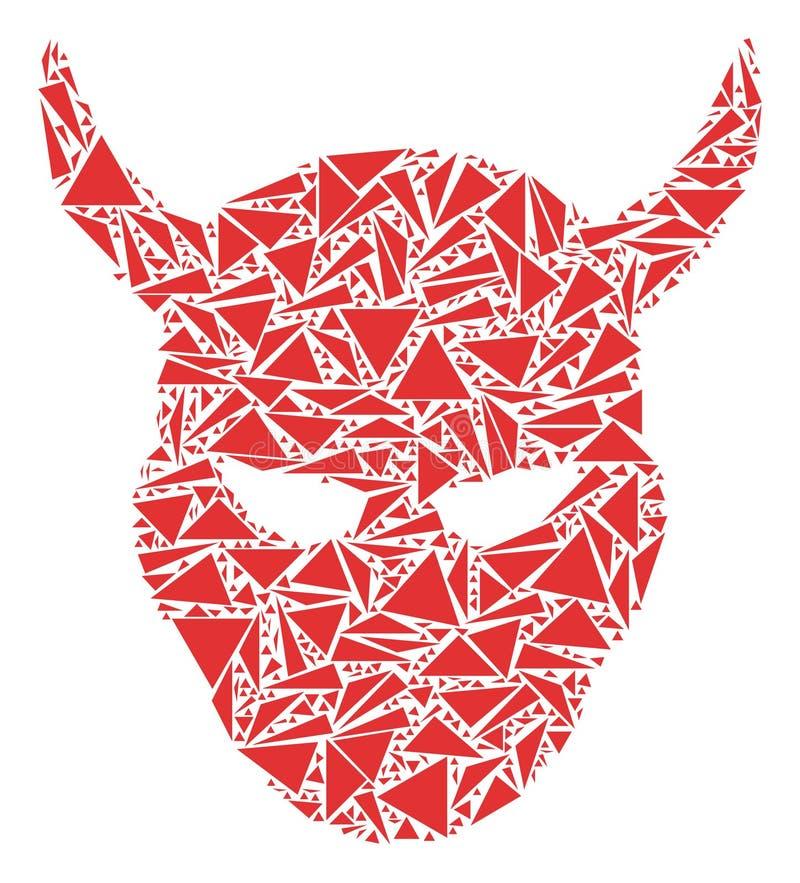 Daemon Head Collage von Dreiecken stock abbildung