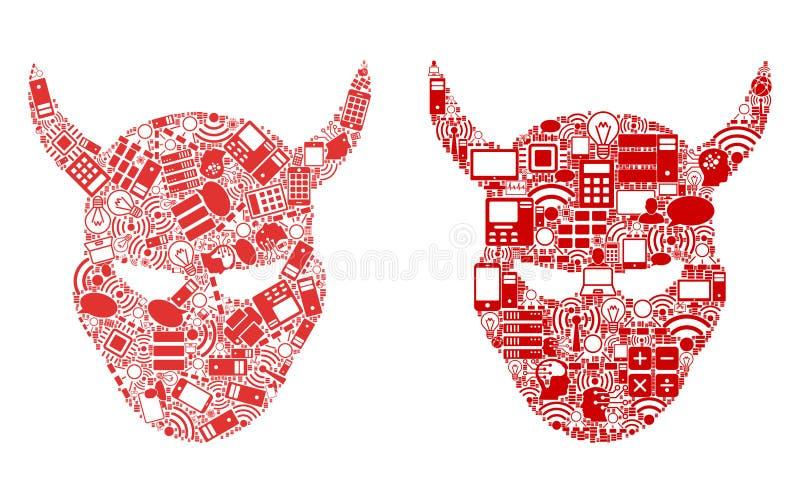 Daemon Head Composition Icons para BigData ilustração stock