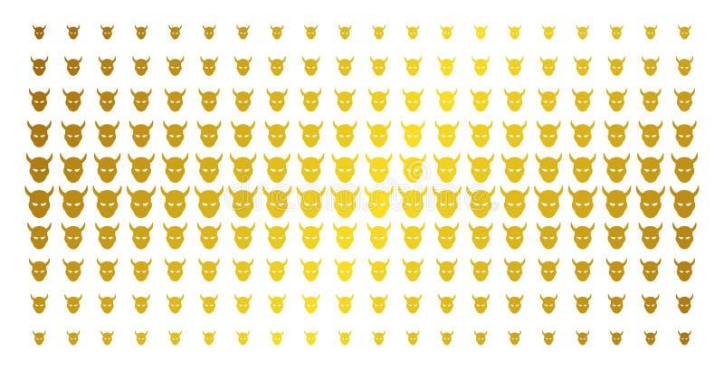 Daemon Head Golden Halftone Pattern vektor abbildung
