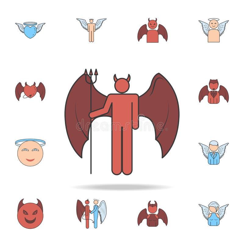 daemon het overzichtspictogram van het kleurengebied Gedetailleerde reeks engel en demonpictogrammen Premie grafisch ontwerp Één  vector illustratie