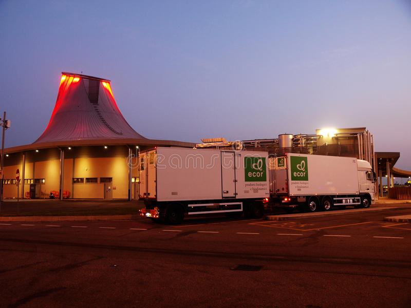 DAF XF fridge transport. Truck and trailer Daf XF on italian autogrill truckstop at night stock images