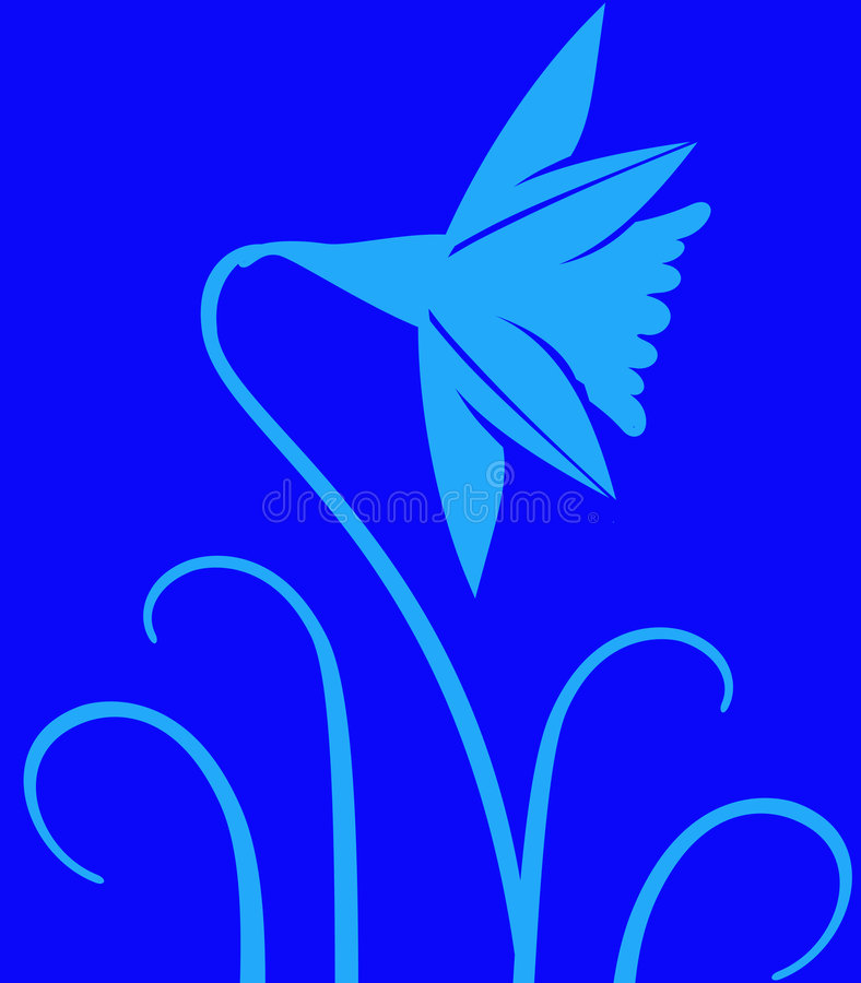Daffodil on Blue. Daffodil flower over blue background vector illustration