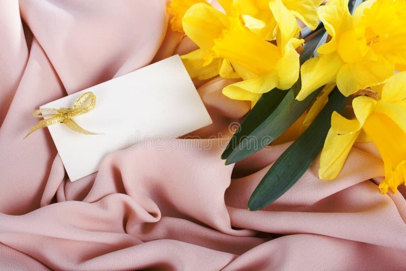 Daffodils amarelos na seda imagens de stock