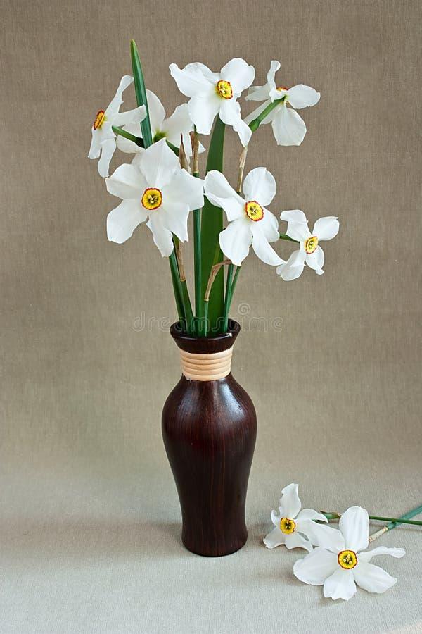 Daffodils brancos em um vaso foto de stock