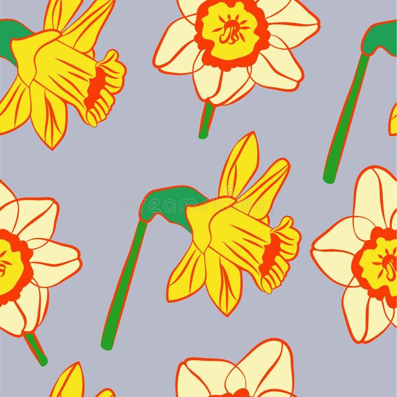 daffodils jaskrawy wzór royalty ilustracja