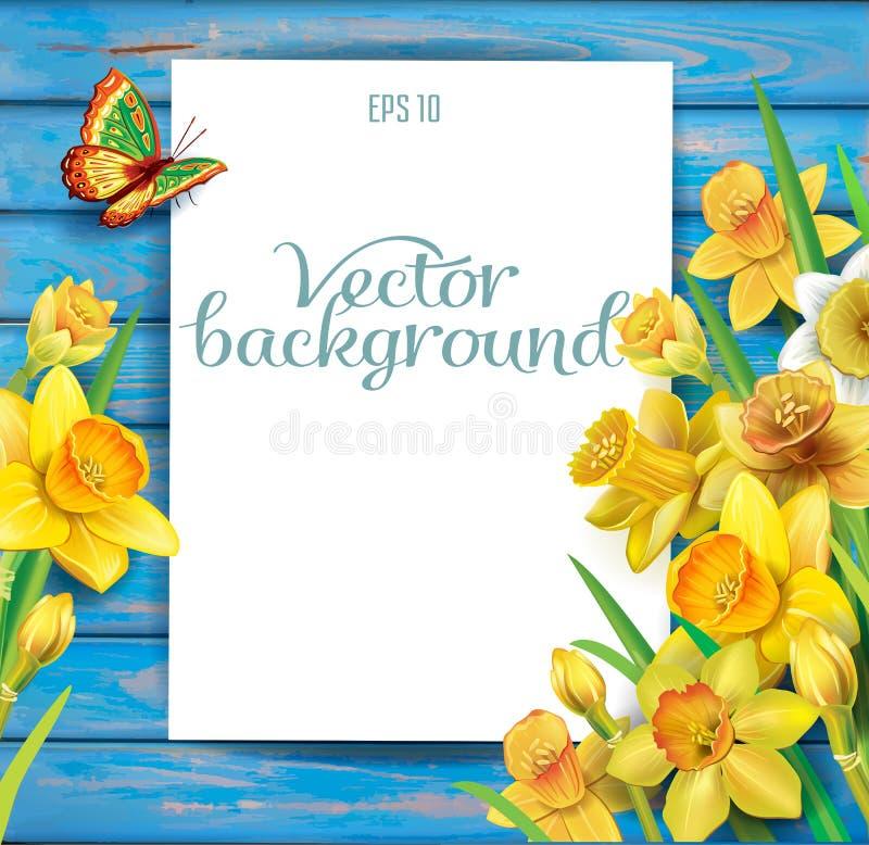 Daffodils kwitną na drewnianym tle ilustracja wektor