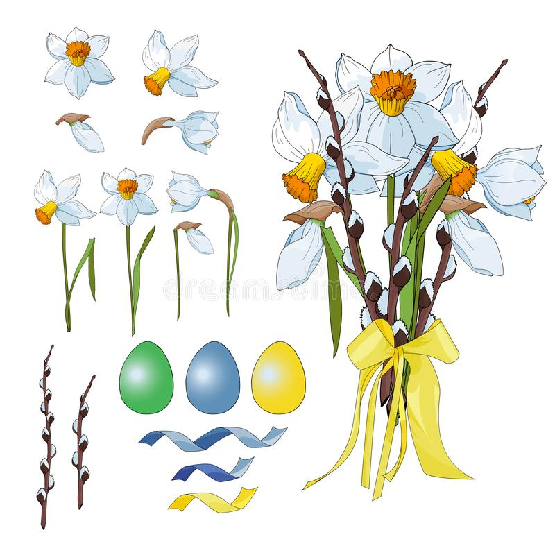 Daffodils Narcissus для счастливой пасхи бесплатная иллюстрация