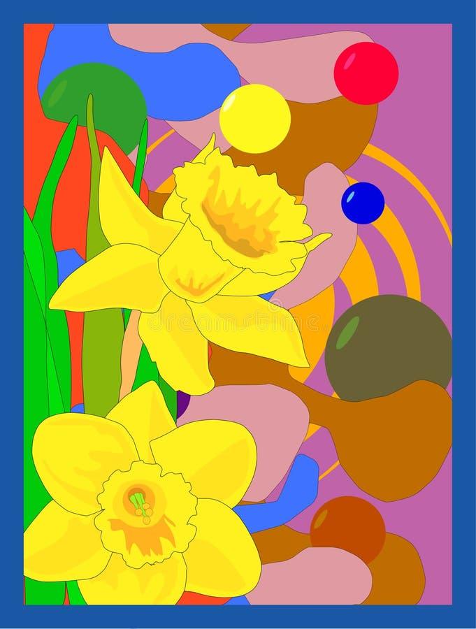 Daffodils su retro priorità bassa illustrazione di stock