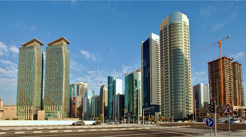 Dafna business district in Doha stock photography