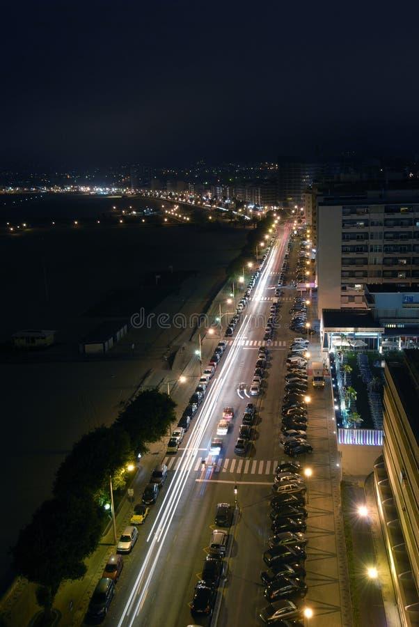 DAFoz strand van Figueira door nigth stock afbeeldingen