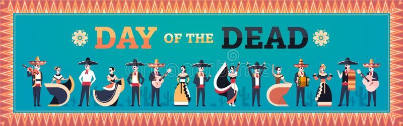 Dag av döda traditionella kvinnor för män för garnering för parti för mexikanhalloween diameter de los muertos ferie som bär skel royaltyfri illustrationer