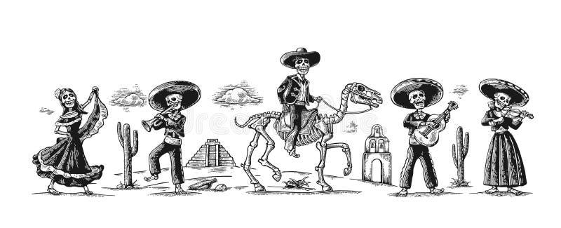 Dag av dödaen, Diameter de los Muertos Skelettet i de mexicanska nationella dräkterna dansar, sjunger och spelar gitarren royaltyfri illustrationer