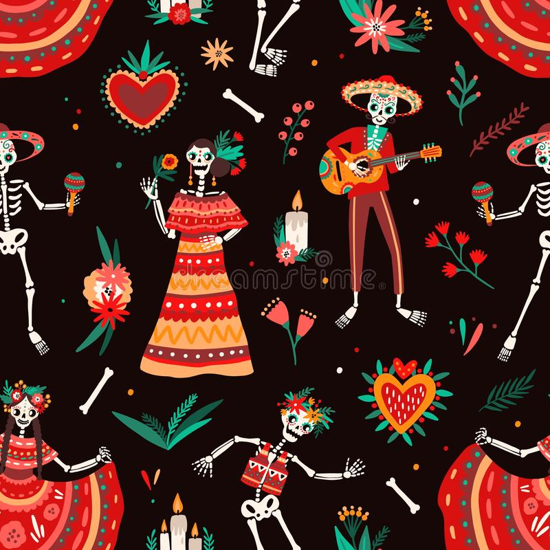 Dag av den döda brokiga sömlösa modellen med iklädd traditionell mexicansk kläder för skelett som spelar gitarren och att dansa royaltyfri illustrationer